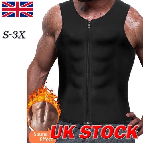 Men Neoprene  Sweat Body Shaper Waist Trainer Slim Corset Vest Shirts Plus Size