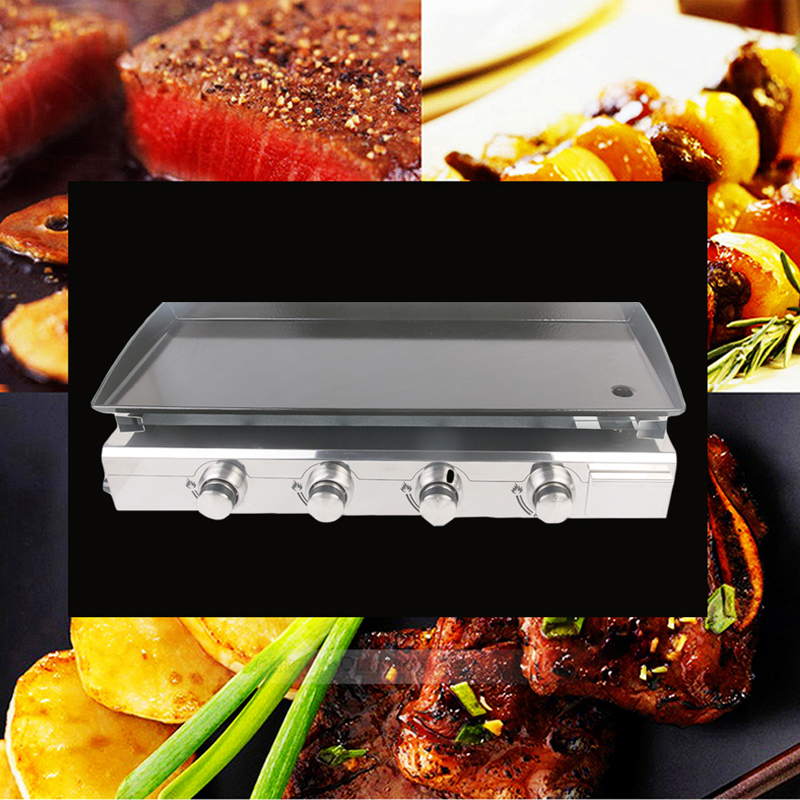 GZZT 4 Burners Gas BBQ Grill Gas Plancha Griddle Plate Enamel Cooking Plate LPG Gas Griddle Iron BBQ Grill CE in BBQ Grills from Home Garden