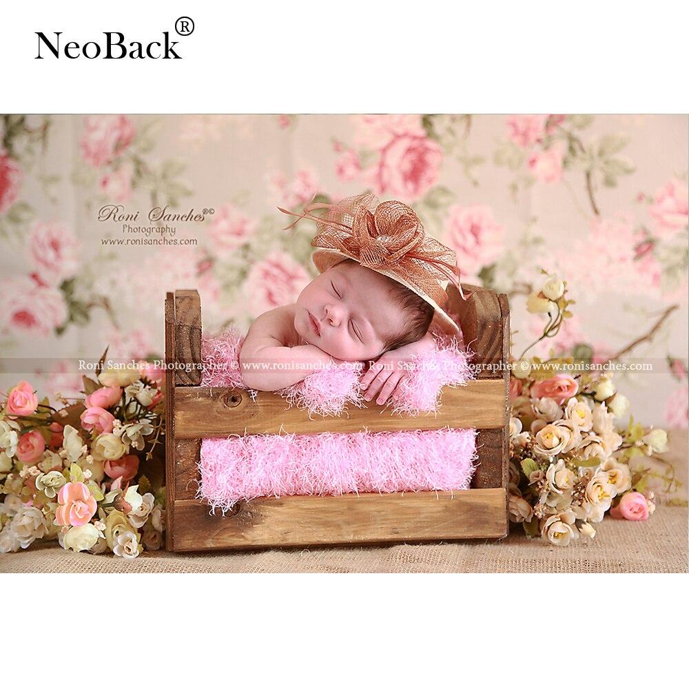 NeoBack Vinyl Cloth Nyfödda Baby Blom Fototryck Tryckta Barn Blomma - Kamera och foto