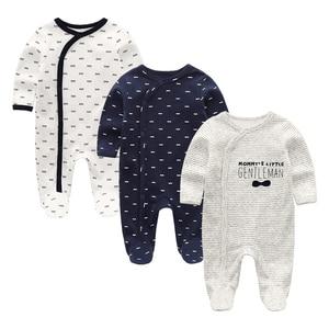 Image 2 - 2020 2/3 adet Bodysuits karikatür kız giyim erkek bebek giysileri 0 12M pamuk bebek kız giysileri yenidoğan çizgili Roupa Bebe