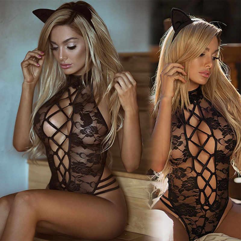 Сексуальное нижнее белье ажурные черные прозрачные костюмы Цветочный открытый промежность сетчатый эротические комбинации нижнее белье Косплей купальная форма