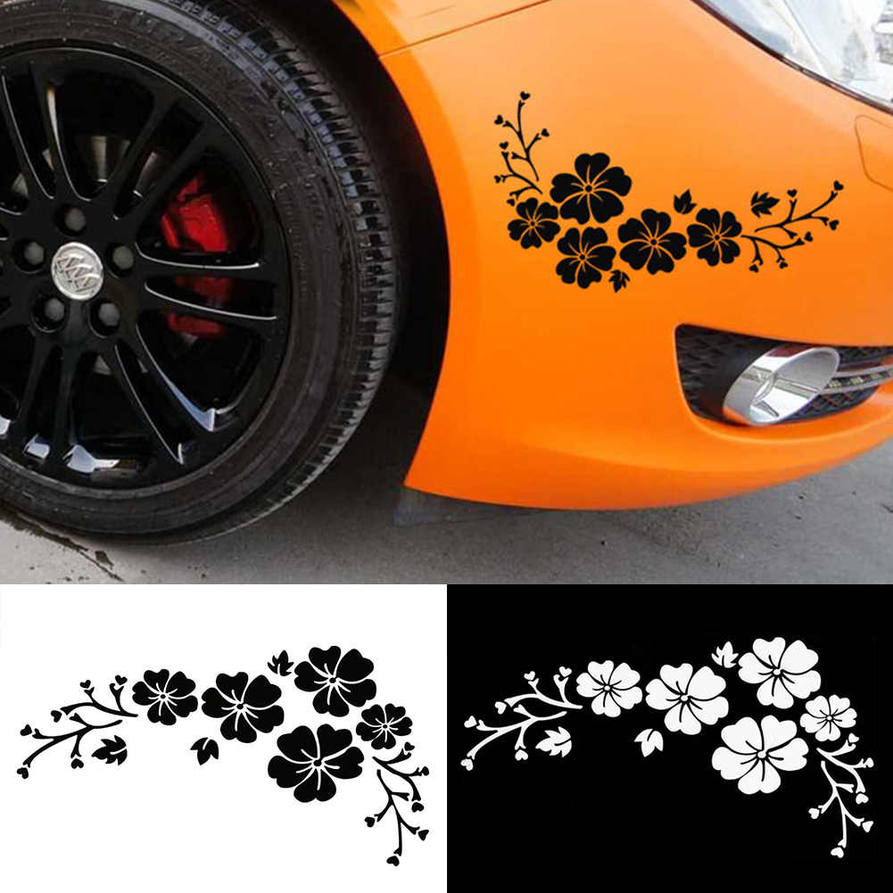Car Styling Lovely Flowers Decorative Laminated 30x14cm Car Sticker Front Bumper Cover Scratches Decals Bumper Sticker