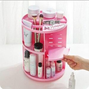 Image 5 - Caja organizadora de maquillaje giratoria de 360 grados, organizador de brochas, caja organizadora de joyería, caja de almacenamiento de cosméticos de maquillaje