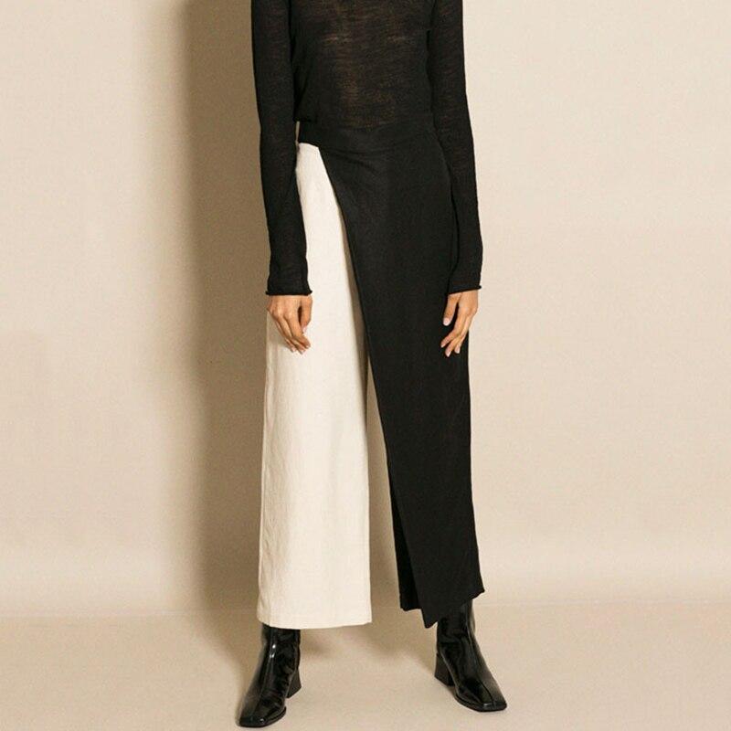 De Fermeture Mode Grande Longs D'été Vêtements Éclair Picture Pantalons Haute Jambe L302 Pants Patchwork Taille Large As Pantalon Femmes Ol Printemps Dames xzA8qwY6w