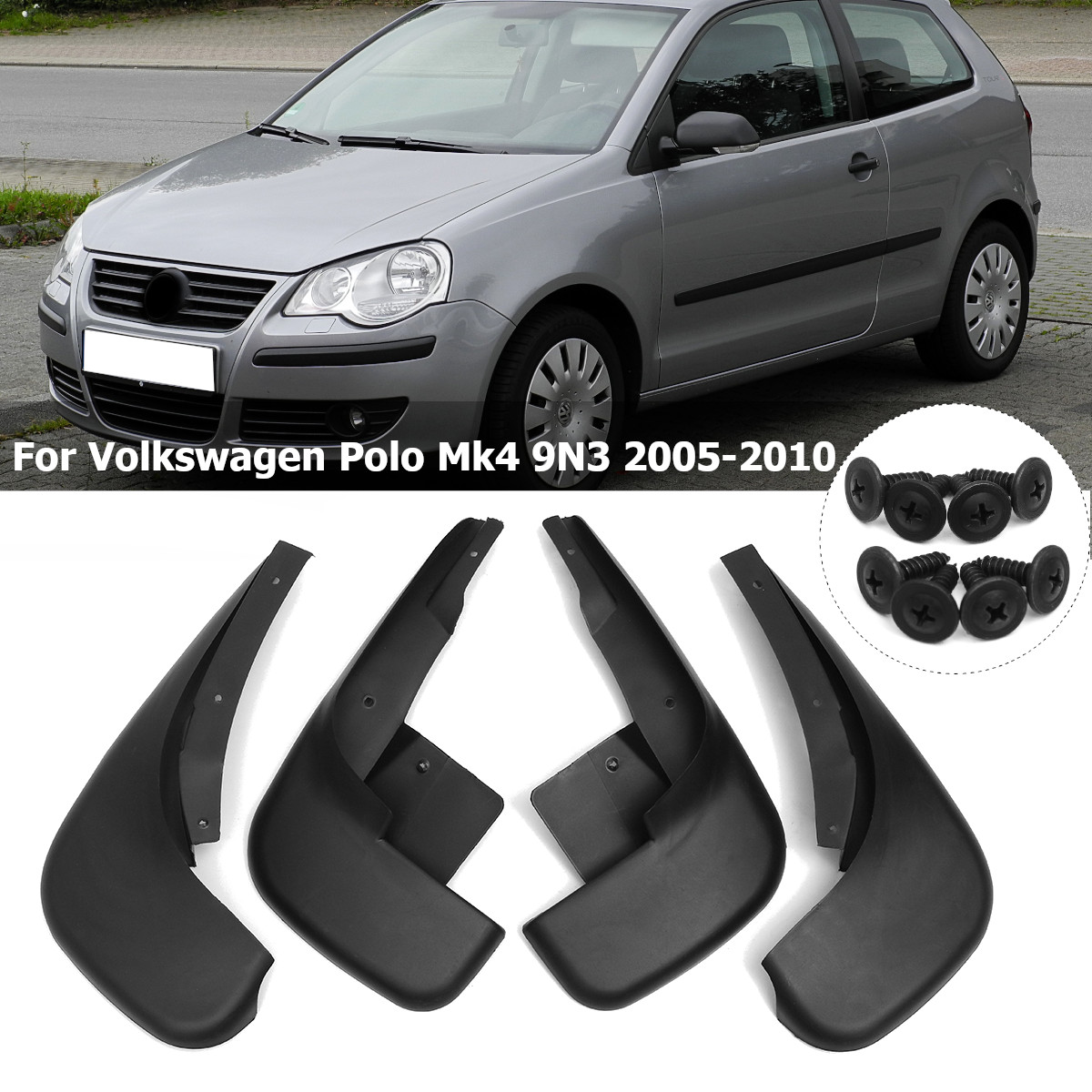 Guardabarros para VW Polo Mk4 9N3 2005-2009 guardabarros de coche guardabarros delantero trasero accesorios de guardabarros