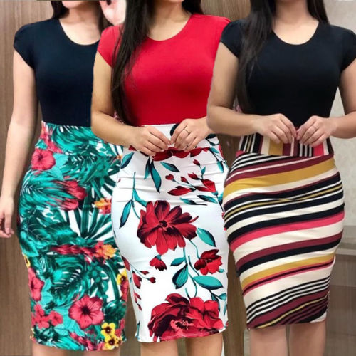 Women Dresses Short Sleeve Floral Print Patchwork Slim Bodycon Dress Cocktail Party Pencil Dress