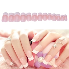 24Pcs French Fake False Nail Nails Tips Acrylic Full-Artificial Artificial