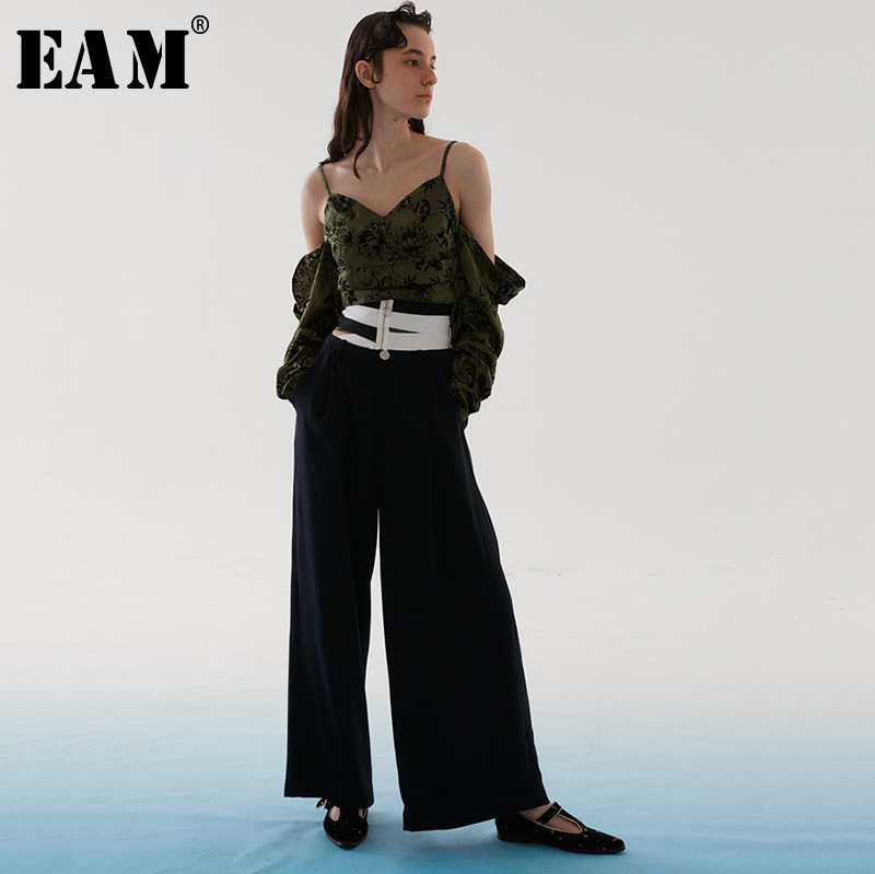 [EAM] 2019 New Spring Summer High Waist Dark Blue Striped Split Joint Hollow Out   Wide     Leg     Pants   Women Trousers Fashion JR433