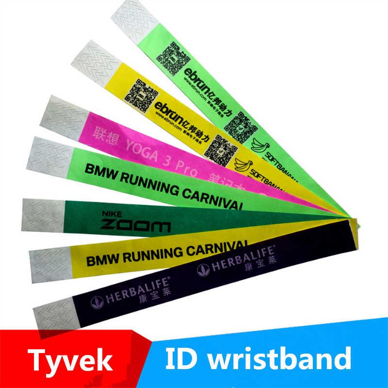 100pcs Custom Logo Tyvek Wristband For