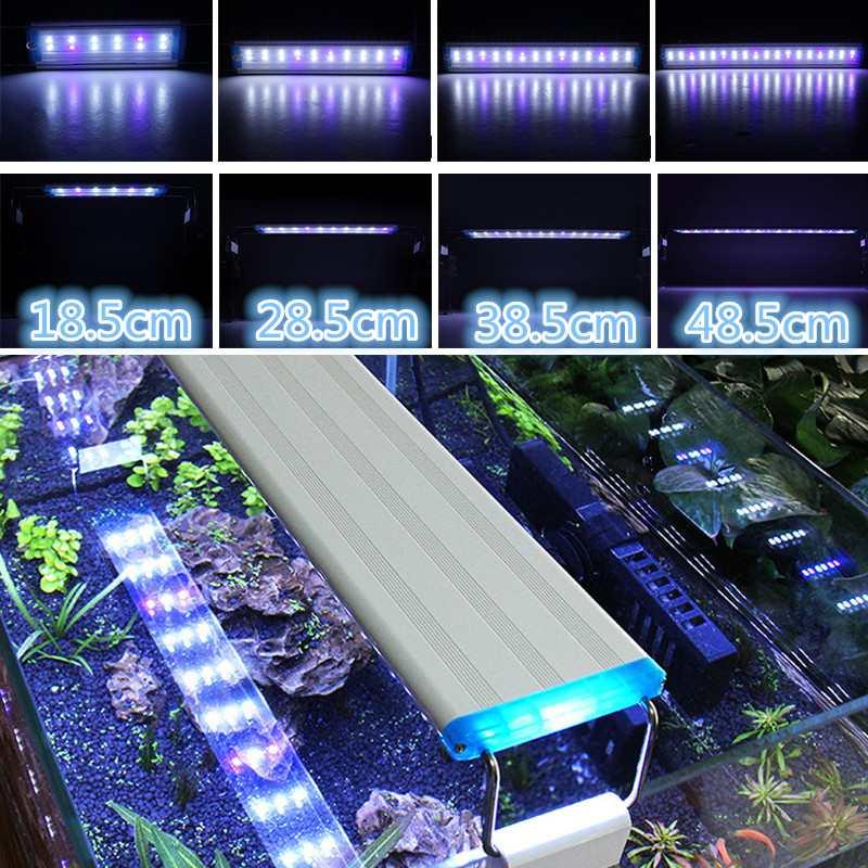 19-60CM LED Aquarium Fish Tank Light Panel With Brackets 5730SMD Blub Blue+White Lamp Adjustable Aluminum Alloy Shell AC220V