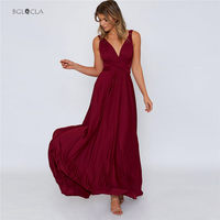 2019 Vintage Prom Women Dress Bandage Maxi Dresses Elegant Gown Deep V Backless Party Strappy Sexy Long Dress Woman Vestidos