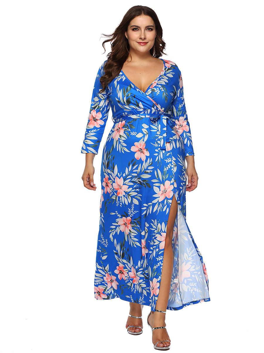 Плюс размер призвание женские цветочные повседневные сексуальные 3/4 рукава v-образный вырез длинное платье XL-3XL