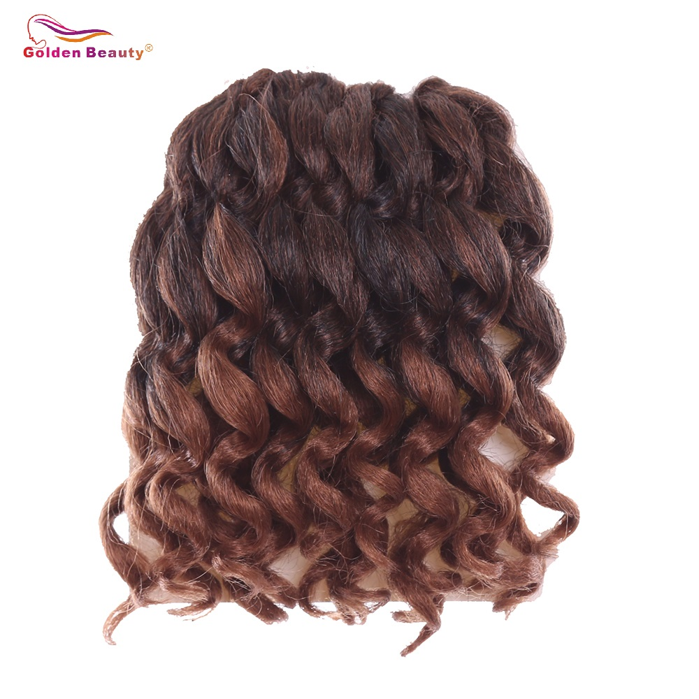 8inch Ombre Jumpy Wand Curl Crochet Braids Jamaican Bounce Synthetic Crochet Hair Extension for Black Wom Golden Beauty