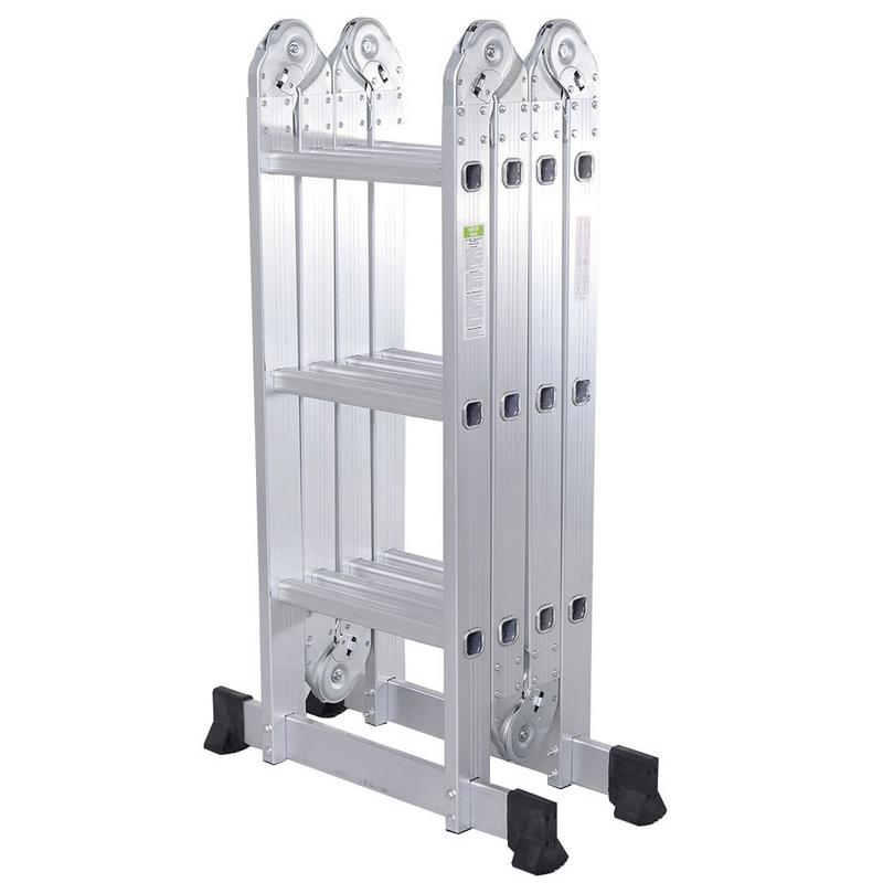 Practical 12-Step Joints Aluminum Alloy Folding Ladder 4*3 380*35cm Household Construction Folding Telescopic Ladder Silver 1PC
