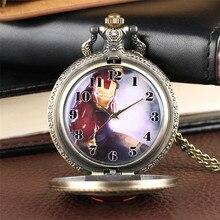 Ретро метал; цвет бронзовый мужской дизайн кварцевые карманные часы Полный Охотник изысканное ожерелье кулон часы для мужчин женщин дети дропшиппинг