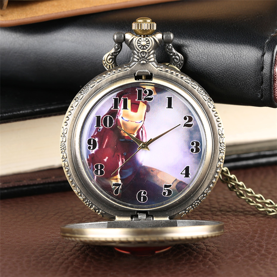 Retro Bronze Iron Man Design Quartz Pocket Watch Full Hunter Exquisite Necklace Pendant Clock For Men Women Kids Dropshipping