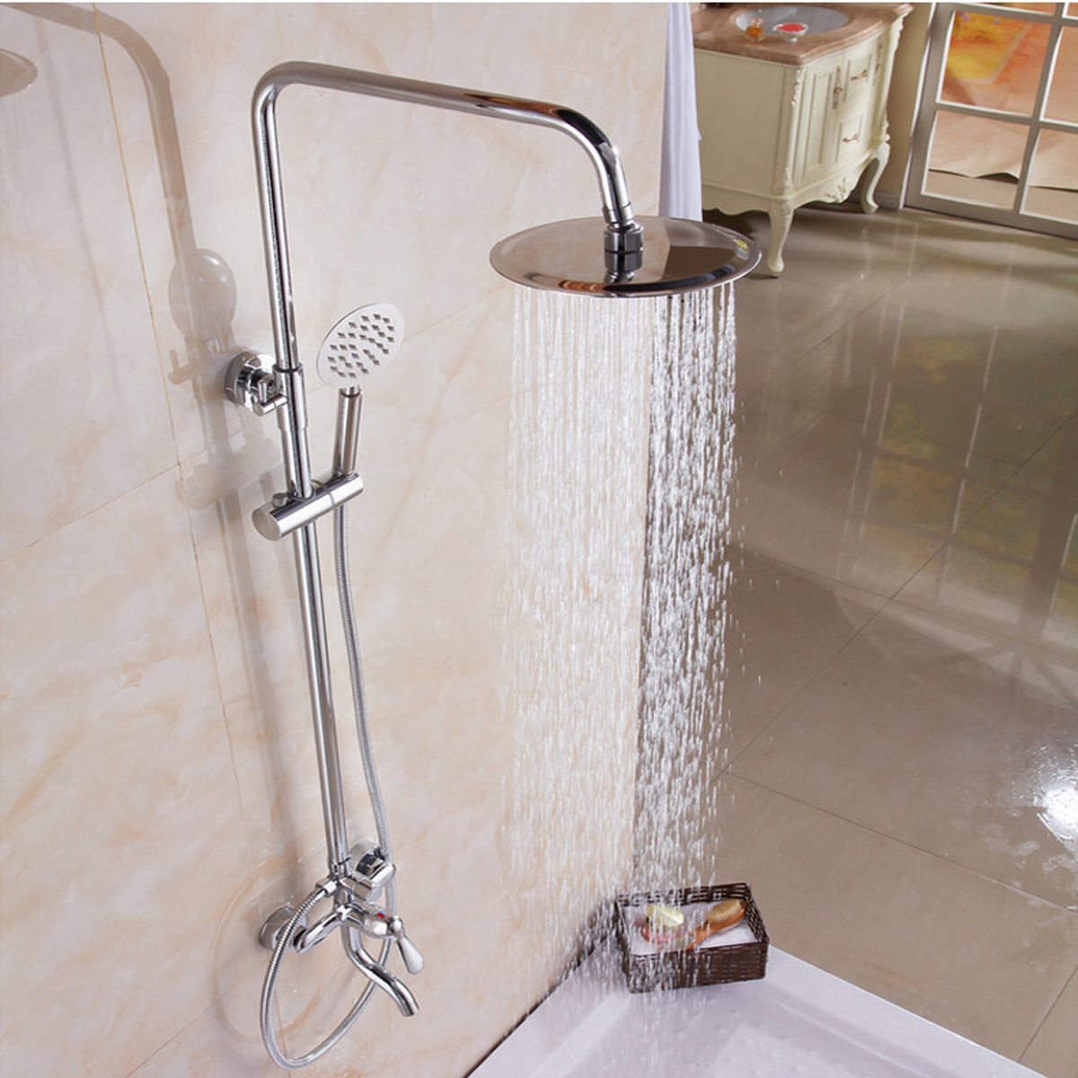 Us 75 84 21 Off 8 Chrome Brass Polished Rainfall Shower Head Faucet Set Shower Tub Mixer Tap Saving Nozzle Aerator High Pressure Wall Mounted In