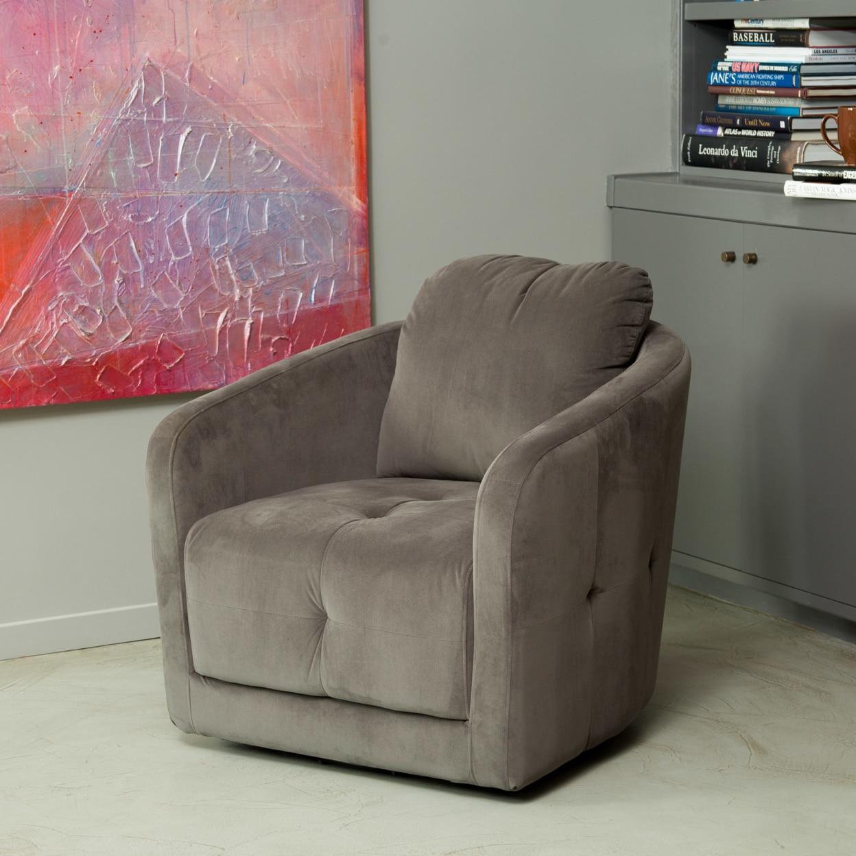 Bernhoft Swivel Grey Microfiber Fabric Armchair-in Living