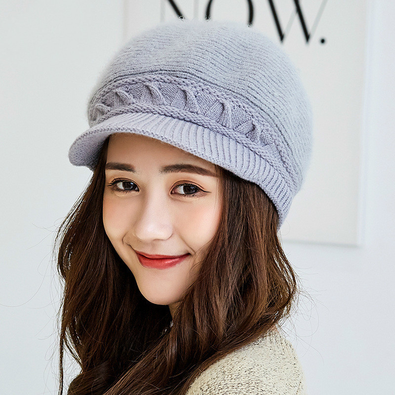 9ffb6482de4 oZyc Women s Winter Rabbit Fur Hat Female Fall Knitted Hats for Woman Cap  Autumn Ladies Fashion