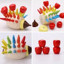 Kids Wooden Spike Hedgehog Hand Eye Coordination Puzzle Toy for Kids цены