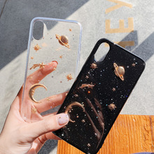 Planet Star Space Moon Glitter Phone Case For Iphone XS MAX XR X Marble Clouds Cover iPhone 6 8 6S 7 Plus Soft TPU back Capa