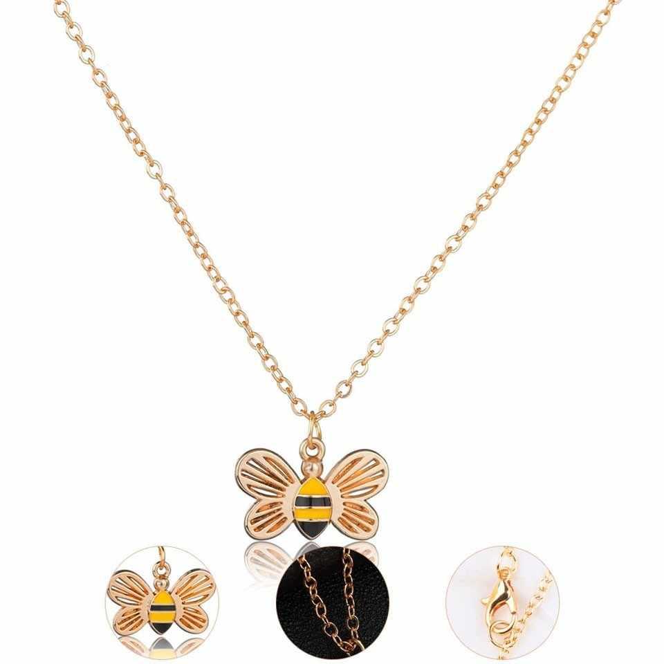 Klasyczne złoto Sliver Honey Bee naszyjniki biżuteria dla kobiet Handmade świetne modne naszyjniki wspaniały prezent urodzinowy biżuteria