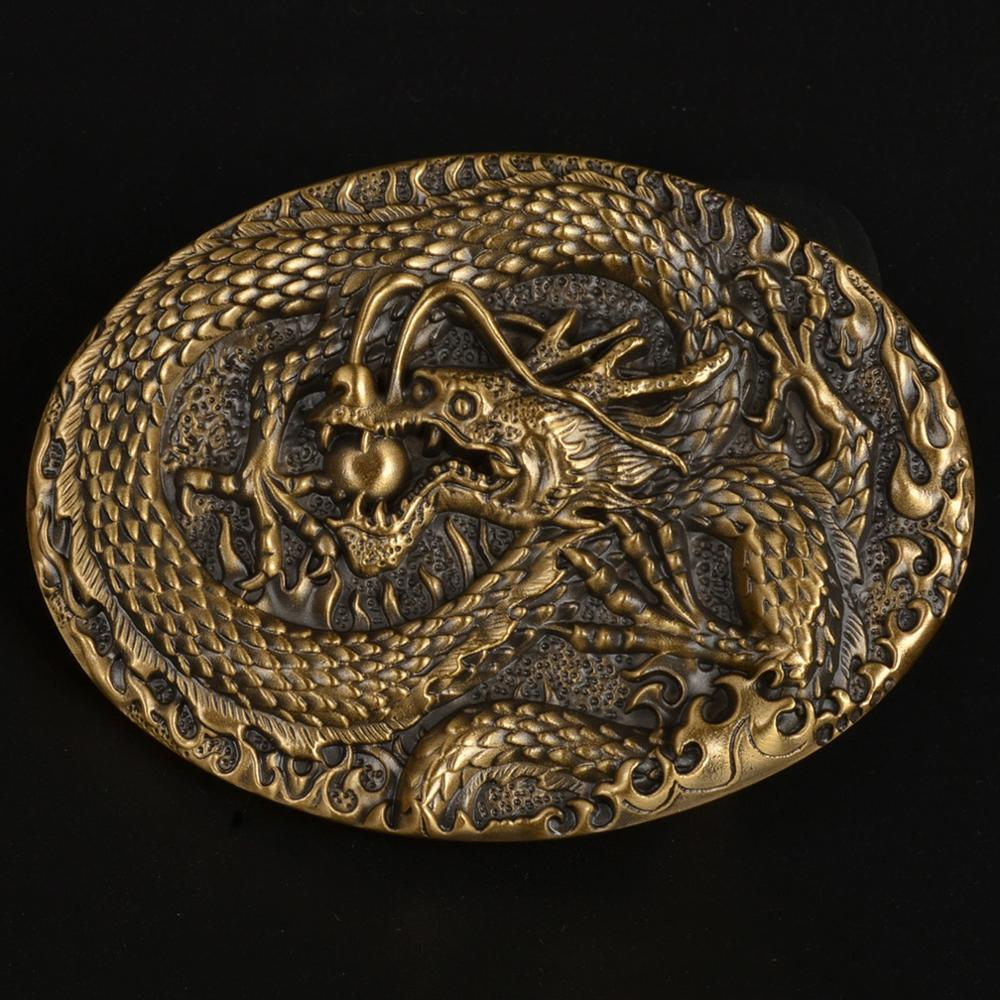 CUKUP Brand Belt Buckle DIY 3D Solid Brass Belts Buckles Chinese Style Dragon Playing Ball Pattern New Designers BRK050