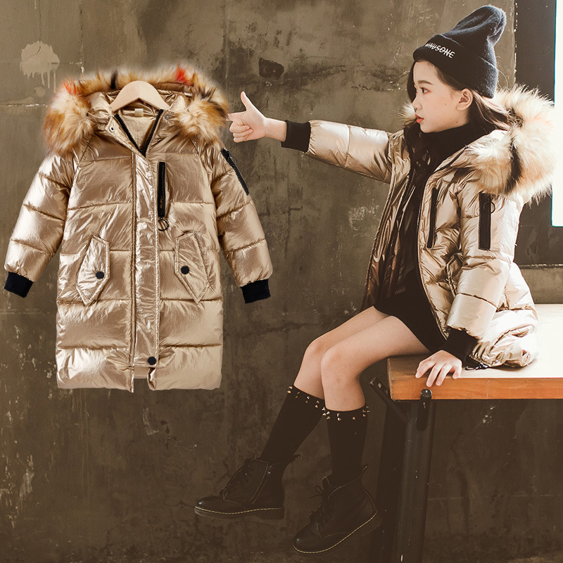2018 New fashion girls cotton coat girls winter jacket thick overcoat warm clothing Fur Collar Hooded long down Coats women winter coat new fashion elegant slim jackets hooded warm down cotton overcoat medium long large size jacket female ok278
