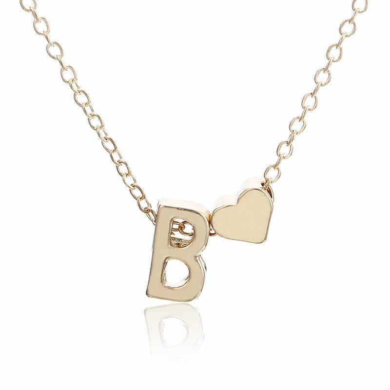 Золотое ожерелье с первоначальным именем, женские золотые ожерелья с буквой, подвеска в виде сердца, ожерелье на цепочке, чокеры, ожерелье для девочки, лучший подарок на день рождения