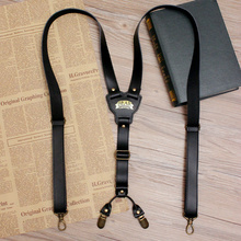 British Style 2 Clips Hook Vintage Adjustable Unisex Genuine Leather Suspender Bronze Shoulder Strap pant braces for man