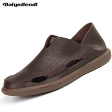 Recommended ! Men Soft Hollow-out Casual Leather Shoes Summer Hight Quality Light Weight Driving Car Business Man