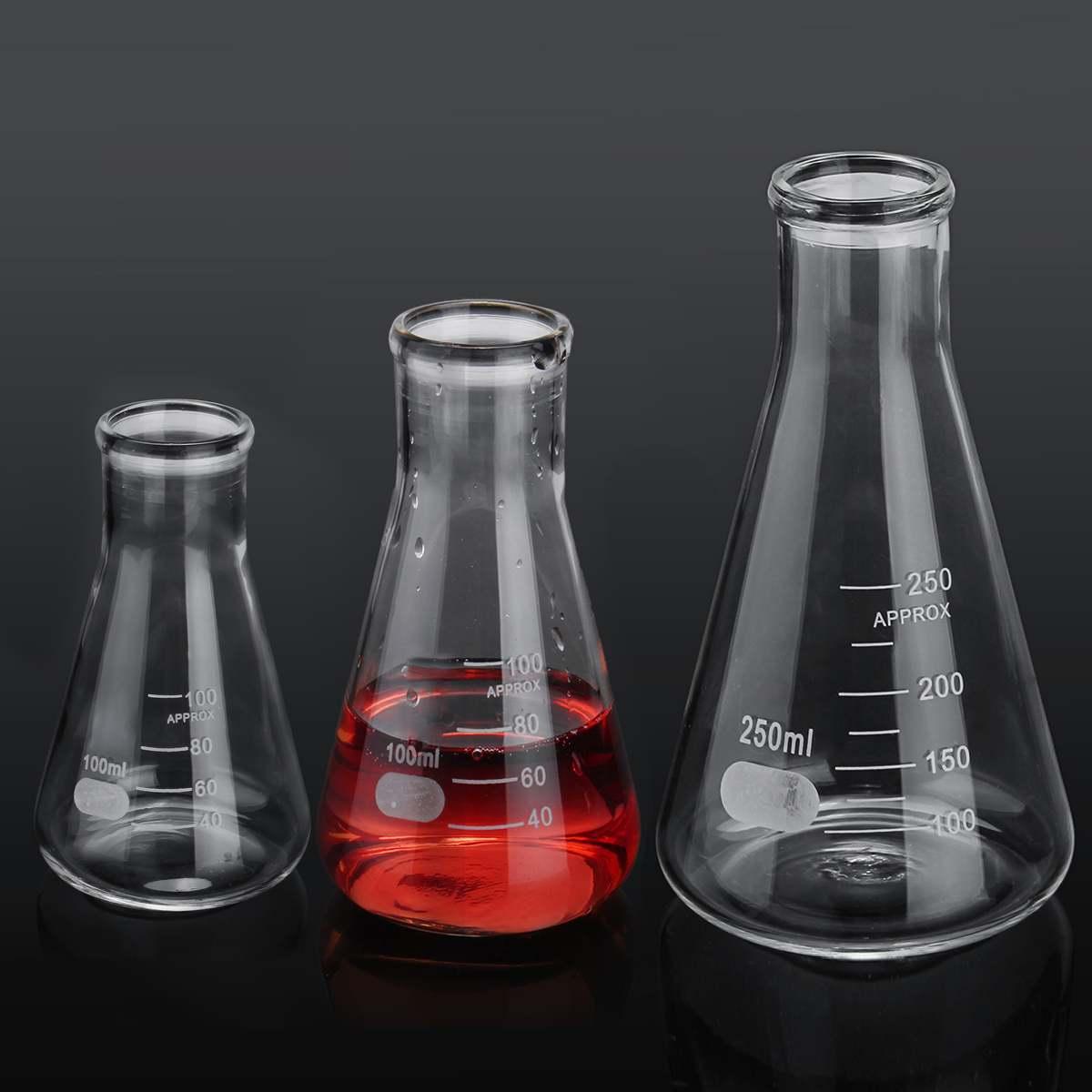 1pcs Erlenmeyer Flask Borosilicate Glass Narrow Neck Conical Triangle Flask Laboratory Chemistry Equipment 50ml 100ml 250ml