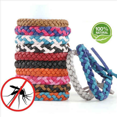 New Anti Mosquito Insect Repellent Bracelet Natural Leather Weave Wrist Bands