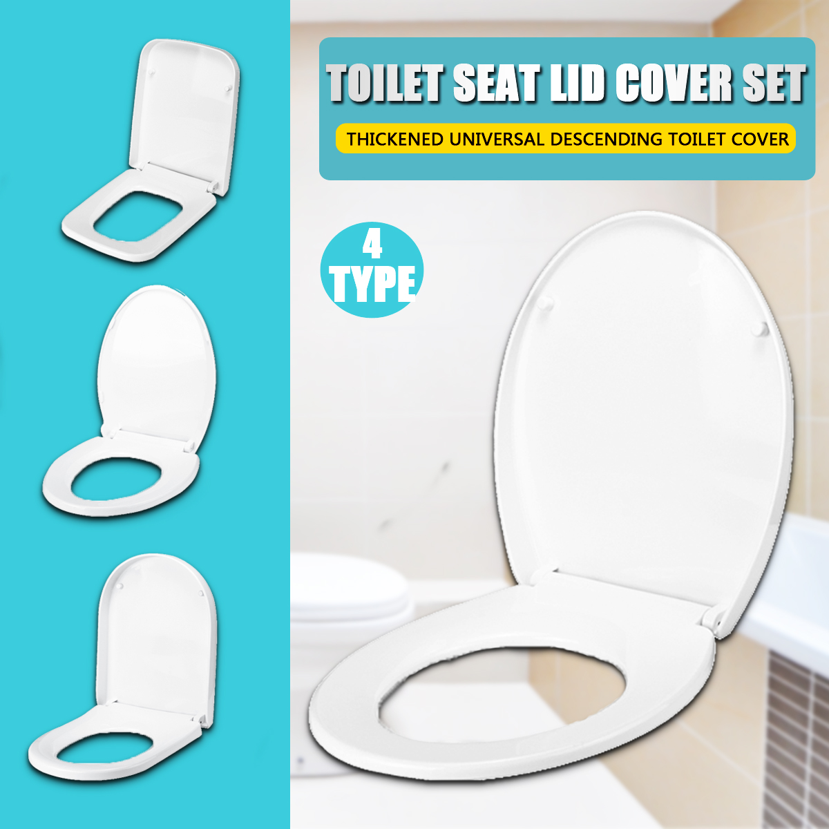 Xueqin PP Thicken Universal Slow-Close Toilet Seat Lid Cover Set High Quality For Household Wc 4 Types