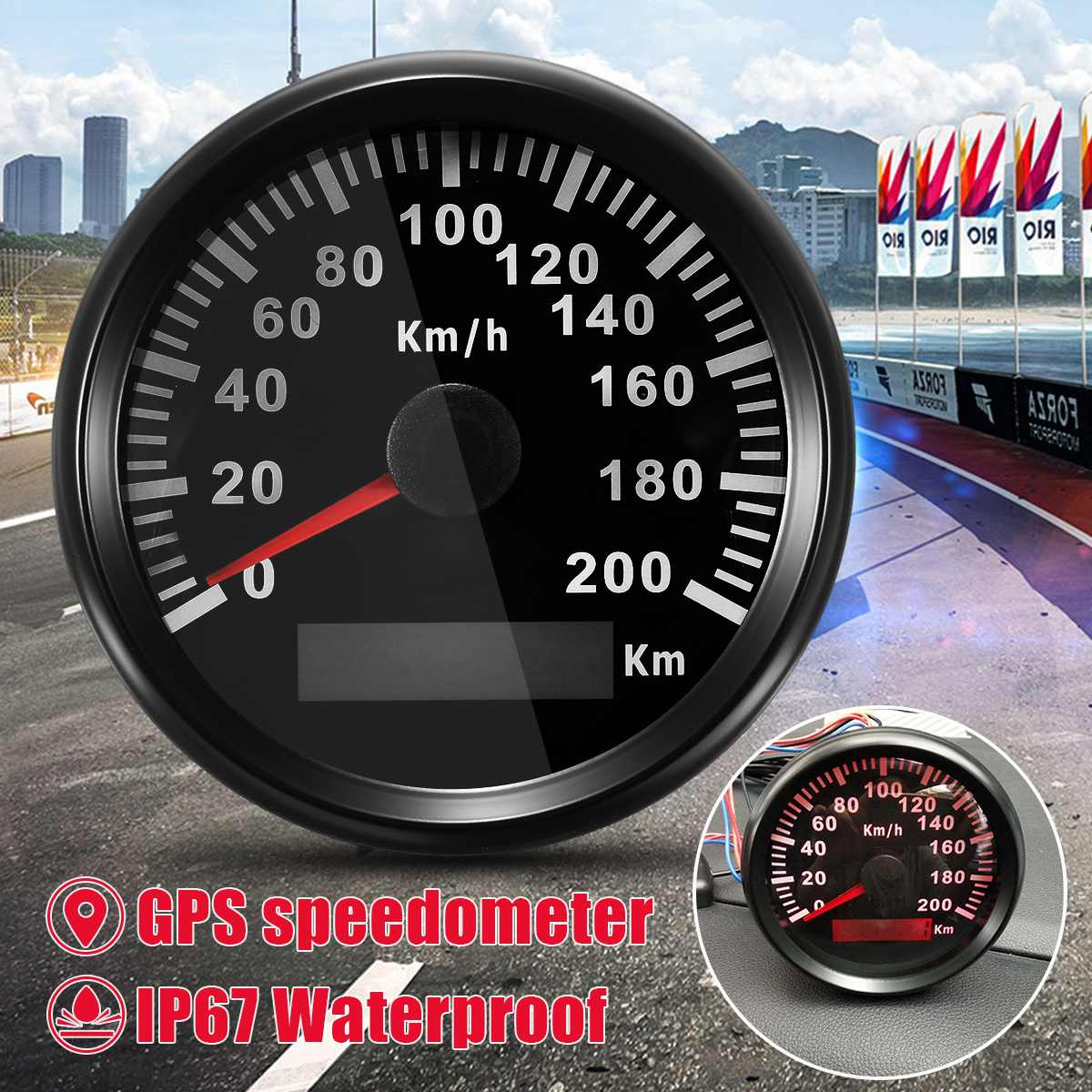 Autoleader Universal 85mm GPS Speedometer Stainless 200km/h Bike Car Truck Motor Auto With Backlight Waterproof Digital GaugesAutoleader Universal 85mm GPS Speedometer Stainless 200km/h Bike Car Truck Motor Auto With Backlight Waterproof Digital Gauges