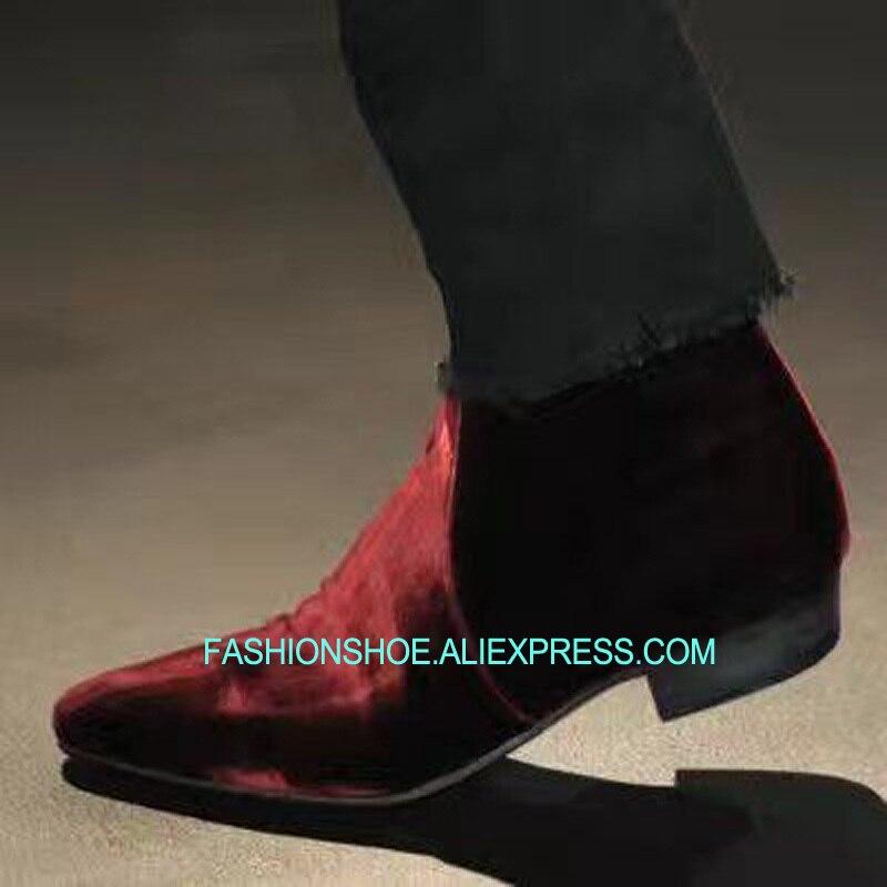 Chelsea Boots Schuhe Mode Weinrot Samt Herren Boot Wohnungen Schuhe Ankle Booties Spitz Zipper Kurze Chelsea Boot Frühling Herbst Zip Moto Booties
