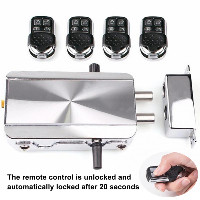 цена Household Keyless Entry Electronic Remote Door Lock Wireless Invisible Anti-theft Intelligent Lock With 4 Remote Keys в интернет-магазинах