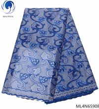 BEAUTIFICAL Blue lace african net fabrics new design embroidered 5 yards french tulle fabric with ML4N659