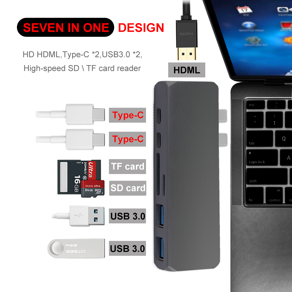 USB Type C HUB to 4K HDMI Adapter Thunderbolt 3 Dual USB 3.1 Data Type C Hub TF SD PD Card Reader for New MacBook Pro 13 15 2018