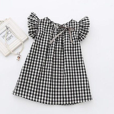 Toddler Kids Baby Girls Summer Lace Plaid Princess Short Sleeve Casual  Dress Party Wedding Pageant Dresses
