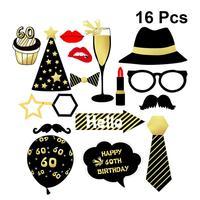 16 шт. 60th день рождения реквизит для фотосессии наклейки Поцелуй воздушный шар шеи галстук золотые знаки узоры наклейки для дома школы бар