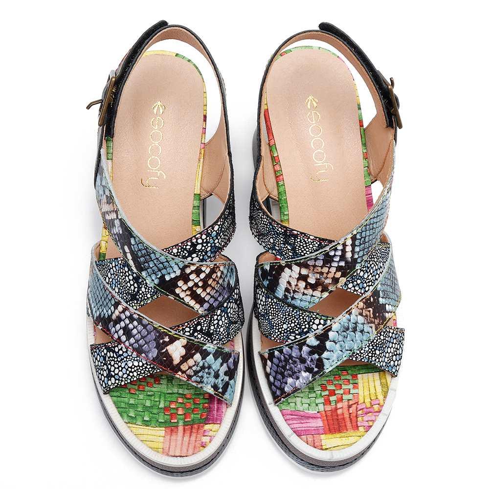 Zapatos Patrón Gancho Ajustable Genuino Azul Socofy Bucle Mujer NnwXkOPZ80