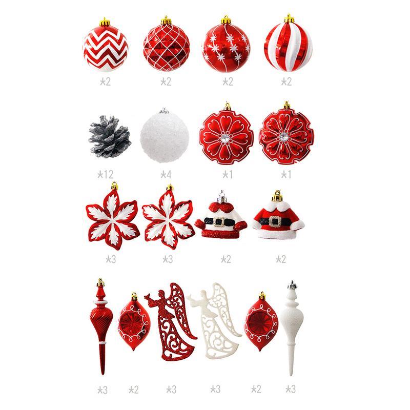 52 pcs/lot arbre de noël décor boule boule de noël fête pendaison boule ornement décorations pour la maison décorations de noël cadeau