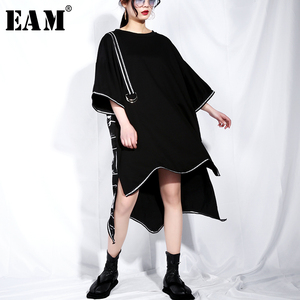 Image 1 - [EAM] 2020 New Spring Summer Round Neck Short Sleeve Black Big Size Letter Printed Irregular Hem Dress Women Fashion Tide JQ326