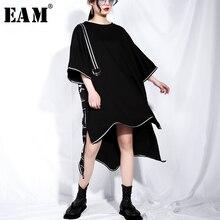 EAM robe col rond, manches courtes, noir, ourlet irrégulier, lettres imprimées grande taille, mode femme, printemps/été, JQ326, 2020
