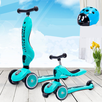 New Little Snail Ride Bike Scooter Child Combo 3 Wheel 1-5 Years Multifunction Baby Buggy Bicycle 2018 new real kids light scooter child four round wheel folding bike slide block flash 4 wheels outdoor toys 2 15years bicycle
