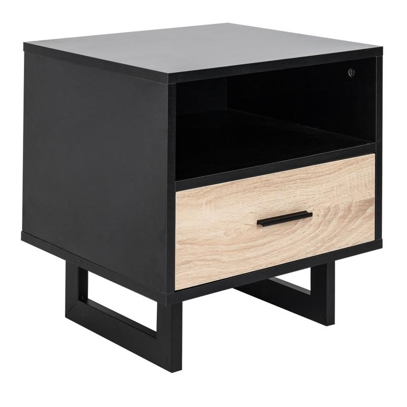 High Qualit 1 Drawer Two tier Bedside Cabinet Night Table Black Well craft Drawer Cabinet Home Bedroom Bedside Table