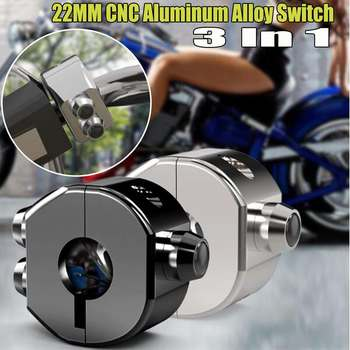 Motorcycle Switch Momentary Latching Switch CNC Aluminium Alloy Motorbike Switch 22mm Handlebar Button Turn Signal Waterproof Мотоцикл
