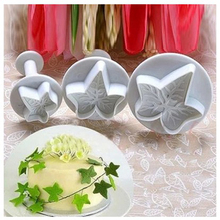 3pcs/set plunger cookie cutters  Fall Autumn Stem Maple Leaf /Icy Shape Cake Baking Decorating Tools Diy