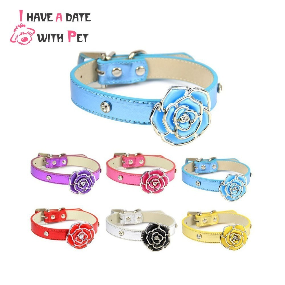 Bling Leather Dog Collar Personlig Diamante Flower XS / S / M / L for Small Medium Dog Cat Collars Puppy Leash Strap Pet Supplies